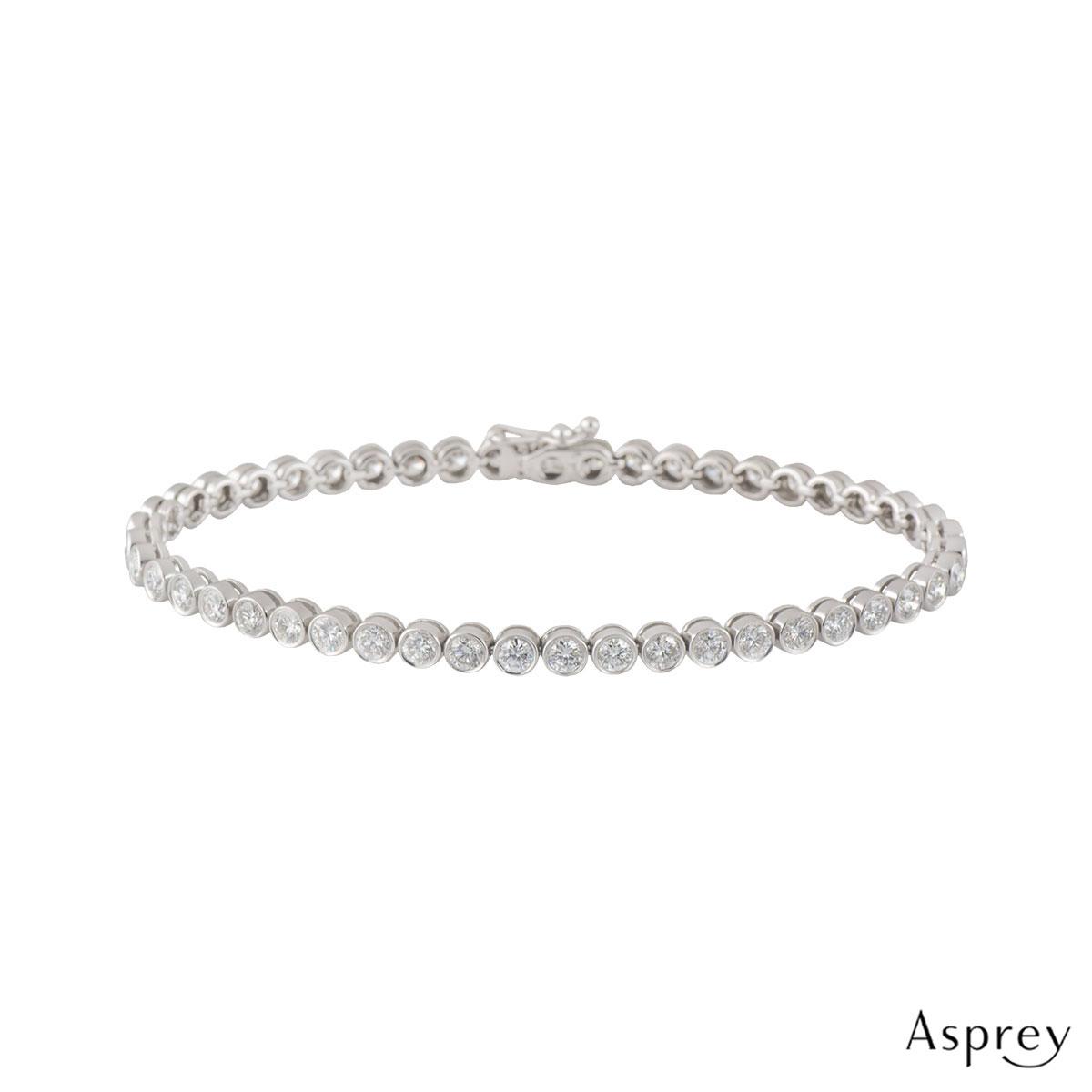 Asprey White Gold Diamond Line Bracelet 4.70ct G-H/VS1